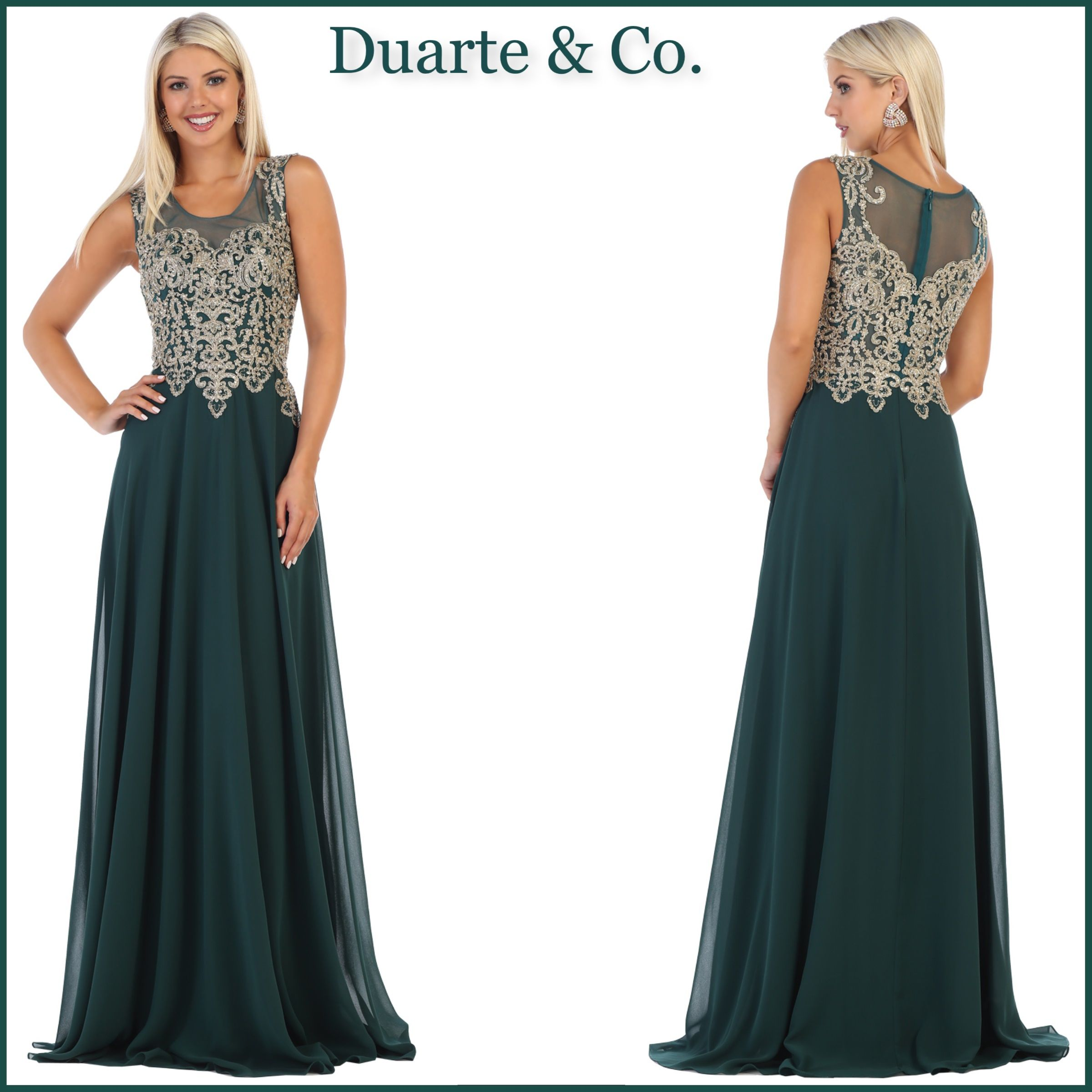 ad711f54661  146.00 Elegant Chiffon Party Dress has metallic lace   hand beaded  rhinestones over sheer mesh material at the bodice with a chiffon skirt.