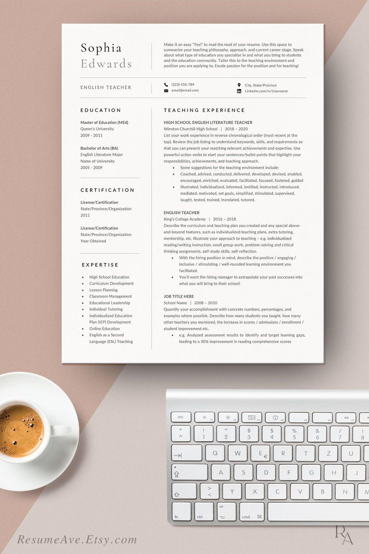Professional teacher resume template cv design