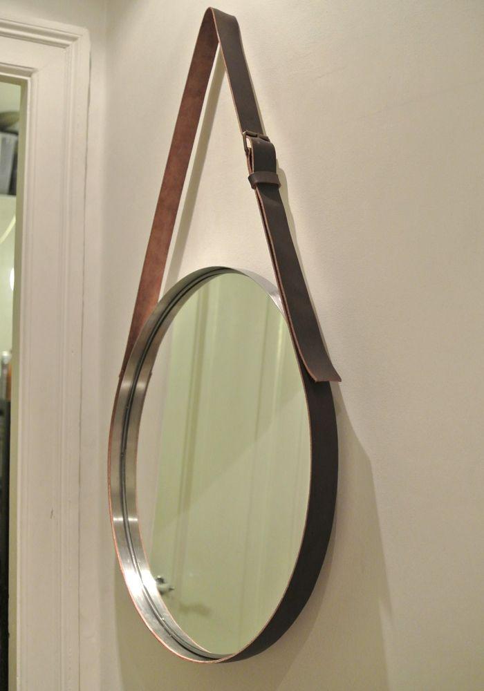 spejl med læderrem Spejl med læderrem | Wall Deco | Pinterest spejl med læderrem