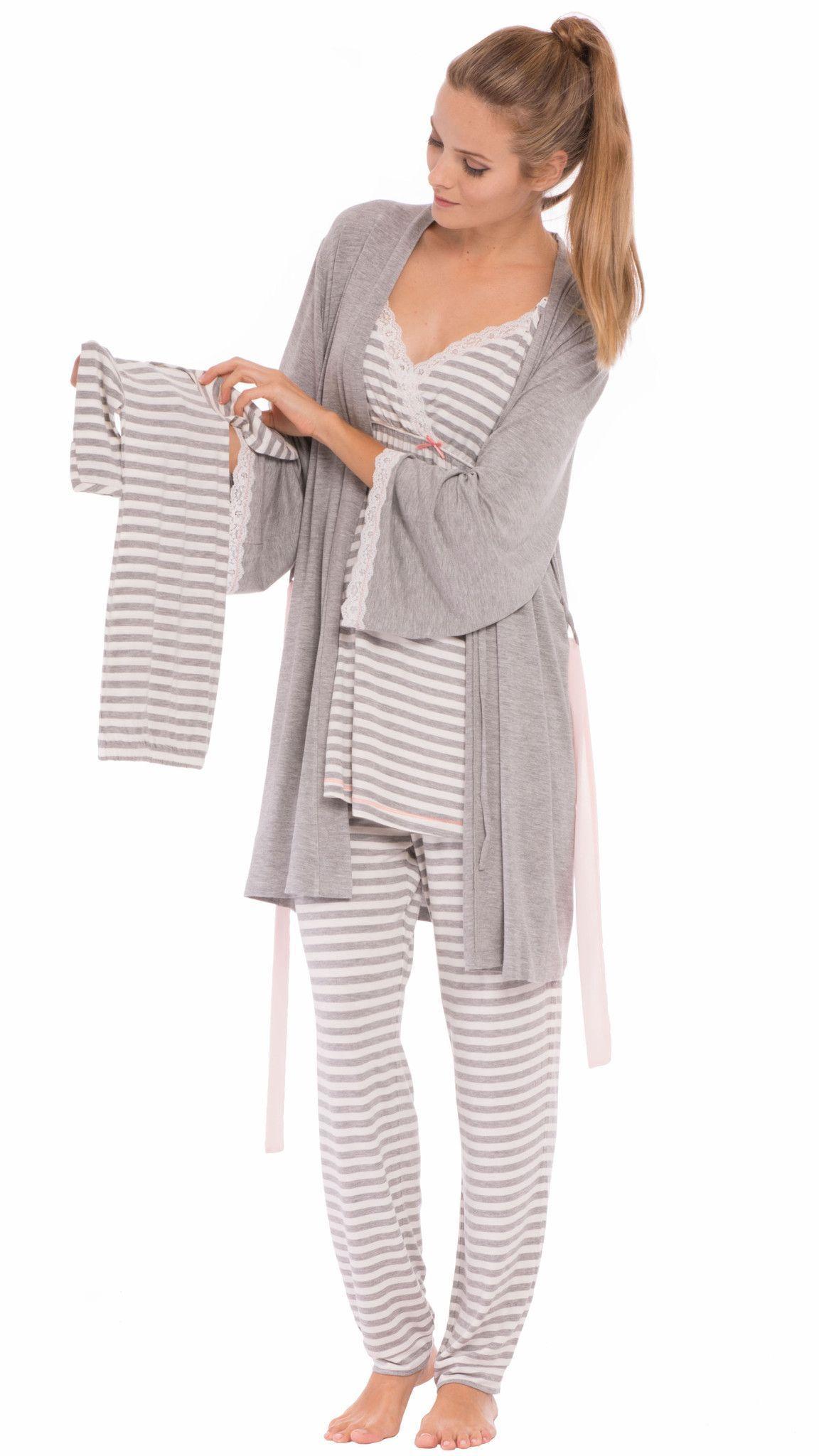 eeb0eb67276fd Olian Maternity Ann Pajamas Grey Striped | Staying Cute & Being ...