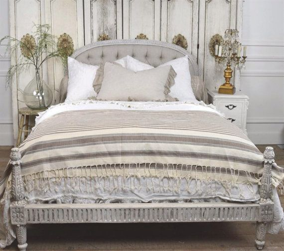 Antique italian button tufted bed by FullBloomCottage on Etsy