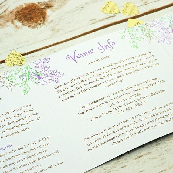 Illustrative Floral Tri Fold 3 Fold Wedding Invitations