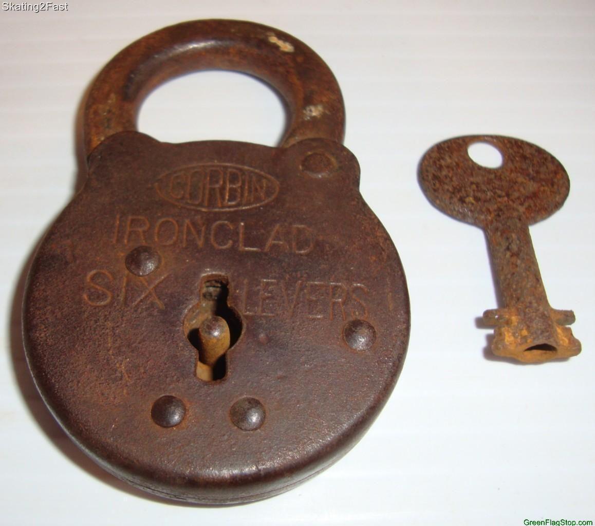 Antique Vintage Corbin Six Levers Old Padlock With Key Ebay Padlock Key Antiques