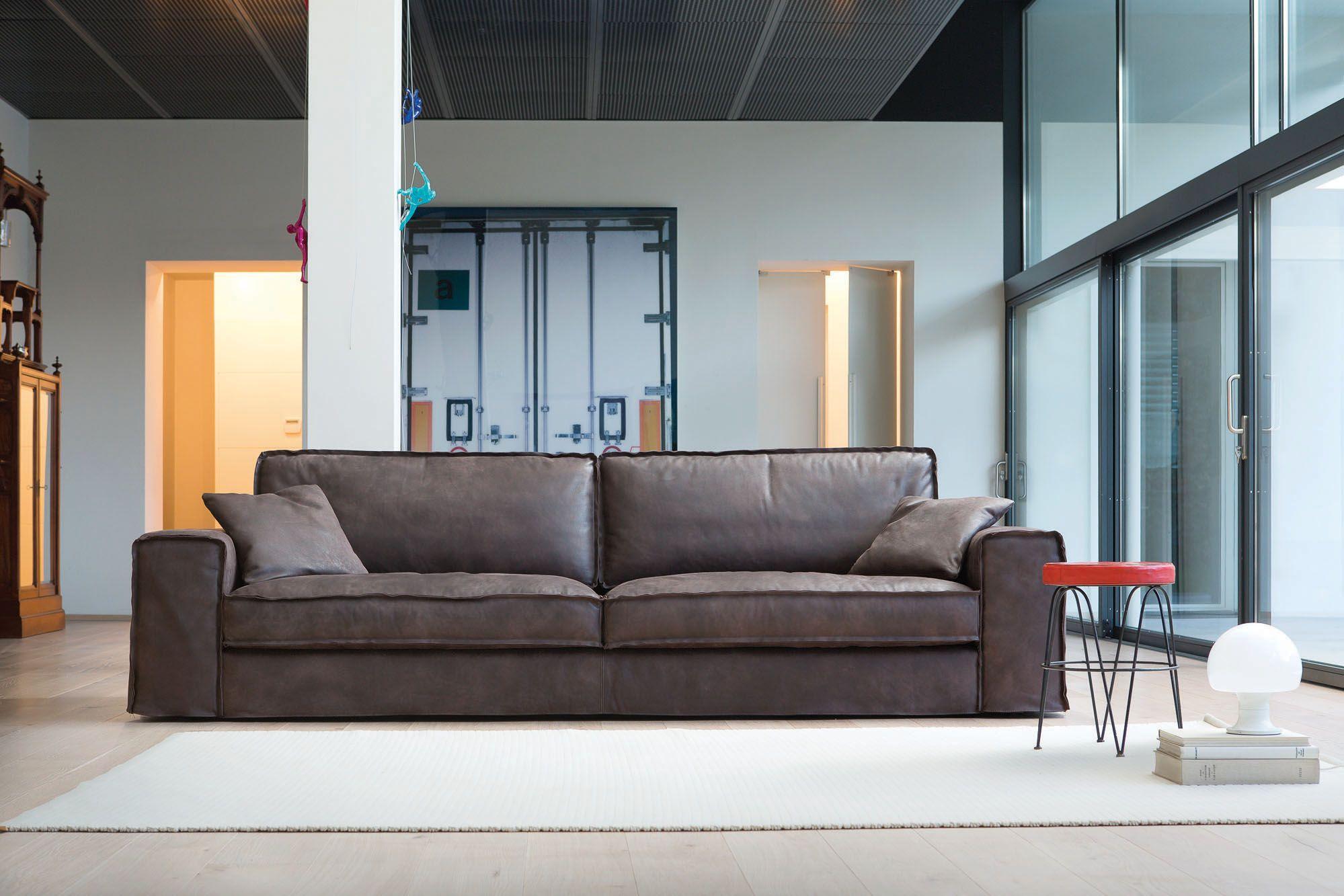 SANTORINI SOFA Fabric and leather covers Model Santorini
