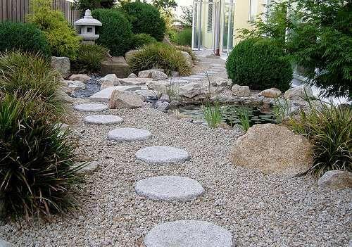 Descubre Como Decorar Un Patio Exterior Elegante Con Piedras Jardin Con Piedras Jardines Jardin Oriental