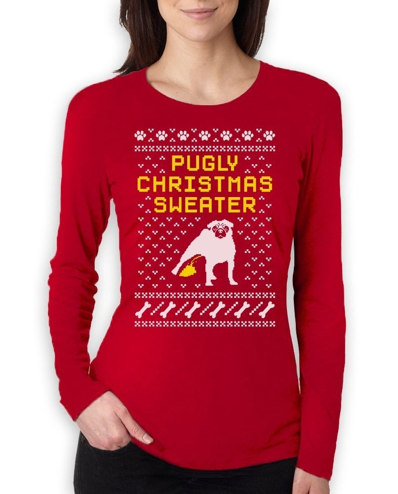 pugly christmas sweater pug ugly christmas sweater women long sleeve t shirt friendstshirts