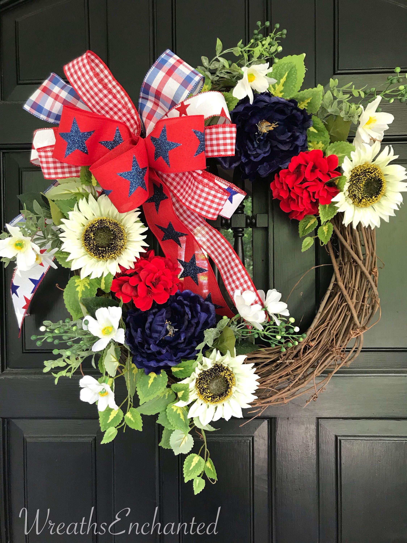 Photo of Patriotic Wreath Americana Wreath Fourth of July Wreath Red White Blue Wreath Summer Wreath Front Door Wreath Wall Decor Sunflower Wreath