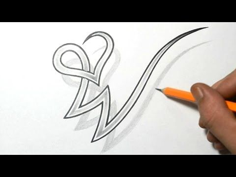 Drawing Letter W Combined With A Heart Design Initial Tattoo Alphabet Tattoo Designs Tattoo Lettering