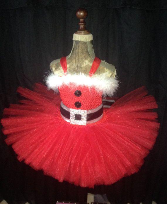 9c1b7403356c Santa tutu dress, Christmas dress, holiday tutu dress, Christmas ...