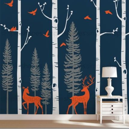 White Birch Tree Wall Decals Simpleshapes