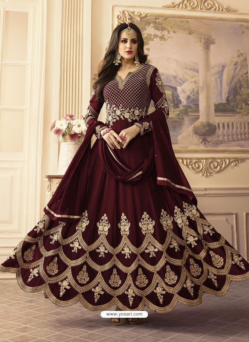 cdf74ac02 Maroon Georgett Embroidered Designer Floor Length Anarkali Suit in ...