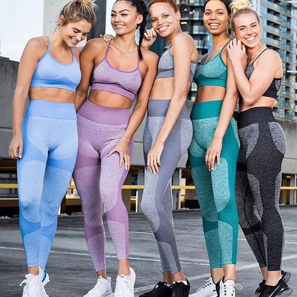 Women Yoga Suit Seamless Crop Tops Pants Set Leggings Sports Fitness Gym Workout