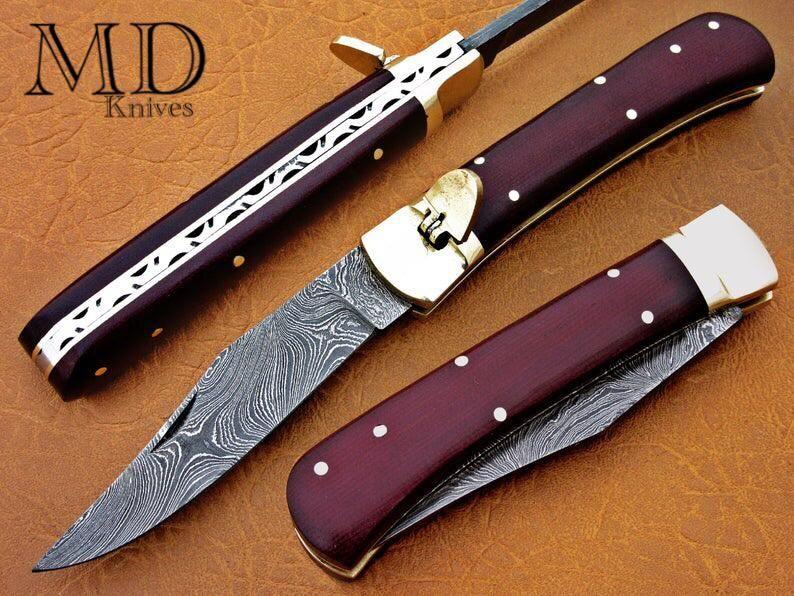 Custom Handmade Damascus Steel Spring Assisted Opening Pocket Knife In 2020