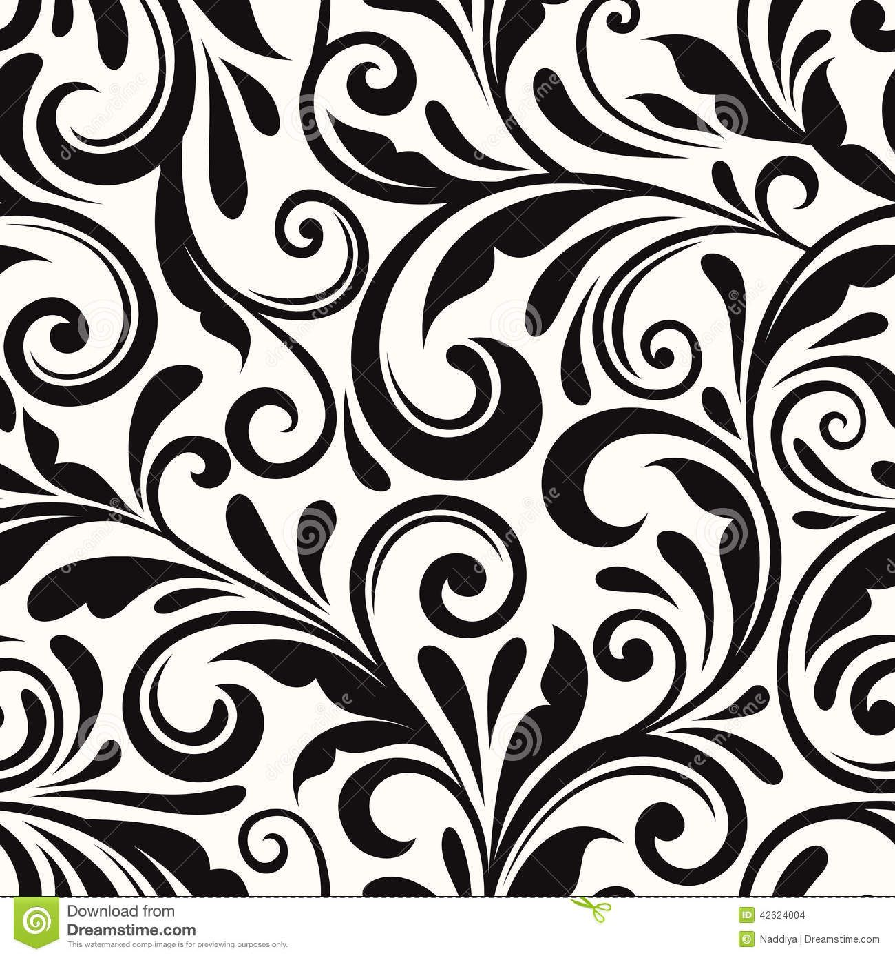 Photo about Vintage seamless black floral pattern. Vector