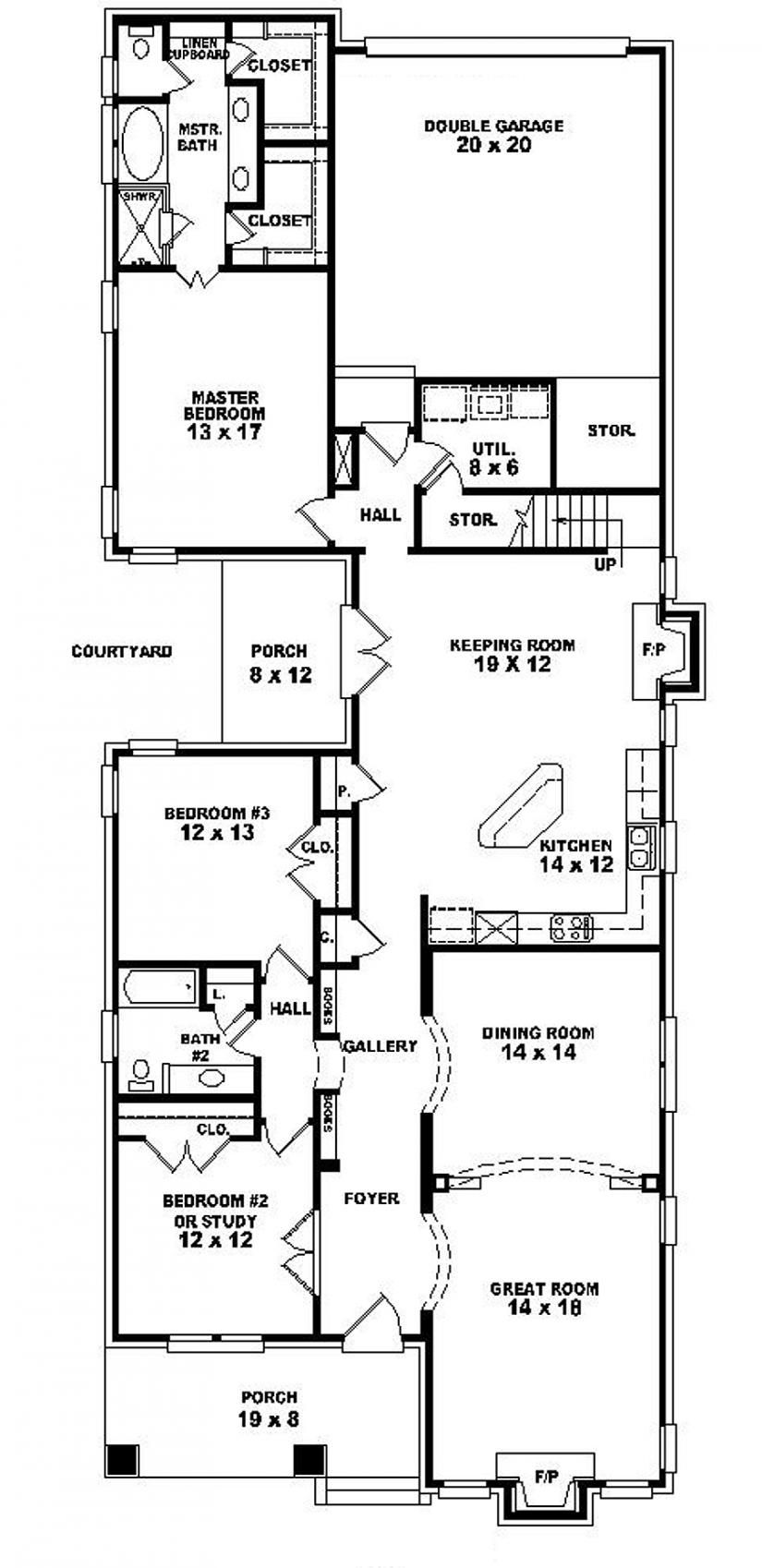 #653962   One And A Half Story 2 Bedroom, 2 Bath Craftsman Style House
