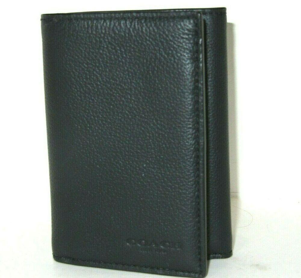 NWT New Coach F75084 Men/'s Billfold Bifold Sport Calf Leather Wallet Black $150