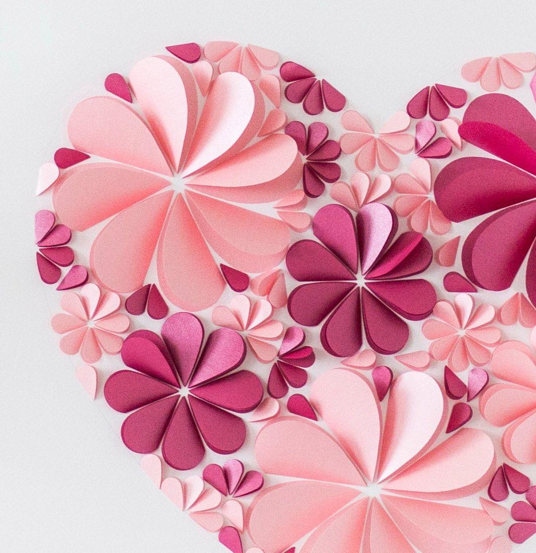 Открытка цветы из сердечек своими руками
