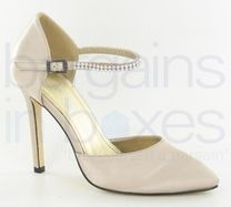Ladies High Heel Satin Shoes with Studded Ankle Strap