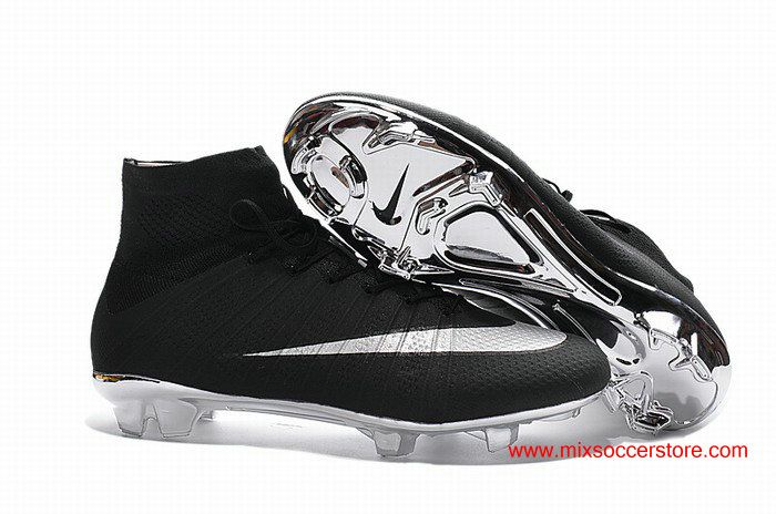 Nike Mercurial Superfly ACC FG Black Silver Silver-bottom Football Boots d02b68640