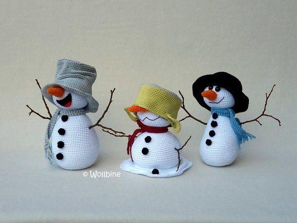 Häkelanleitung Die verrückten Schneemänner #knittedtoys