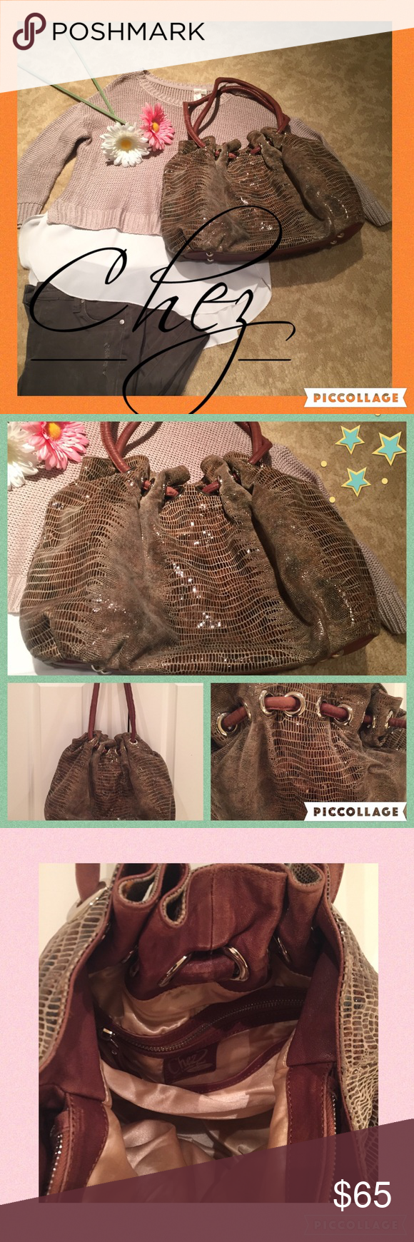 """💫Chez leather pocketbook💫 Fabulous bucket- style bag. Has a python look and a slight shimmer throughout the bag. Brown leather straps that intertwine through large silver loop holes. Magnetic closure. Interior is a beige satin feel.. (Has some stains on the interior). Very roomy... Has a center zipper compartment and two adjacent spaces. Small interior zipper pocket and two open cell-phone type slots!! Nail heads on the bottom of the bag for protection. 13"""" handle drop.  And bag measures…"""
