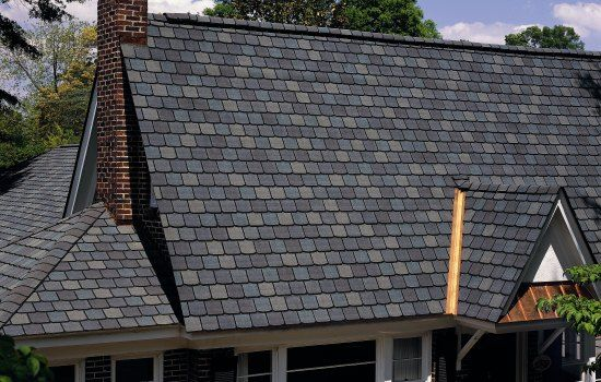 Asphalt Roofing By Certainteed Centennial Slate Design In The Fieldstone Color Solar Roof Shingles Roof Shingles Reroofing
