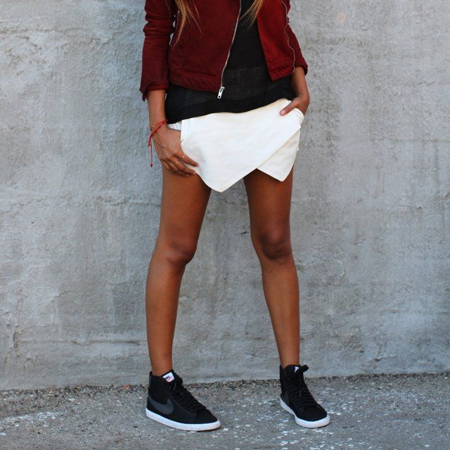 styled shorts with nike blazer mid shoes