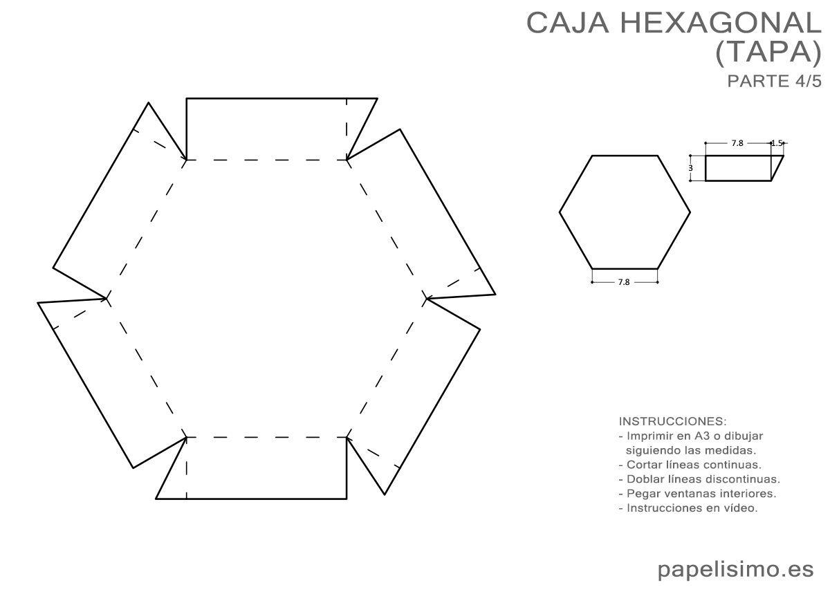 4_5-medidas-caja-hexagonal-tapa-exploding-box   moldes   Pinterest ...