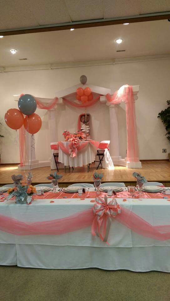 Coral and gray wedding reception decor in my wedding My Wedding
