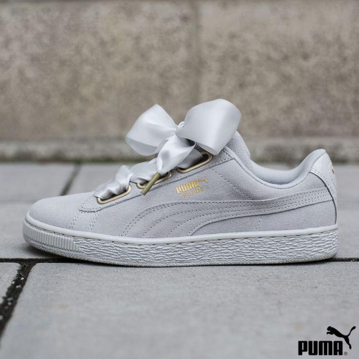 puma basket heart grey suede