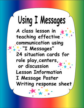 I Messages A Lesson On Problem Solving With Situation Cards