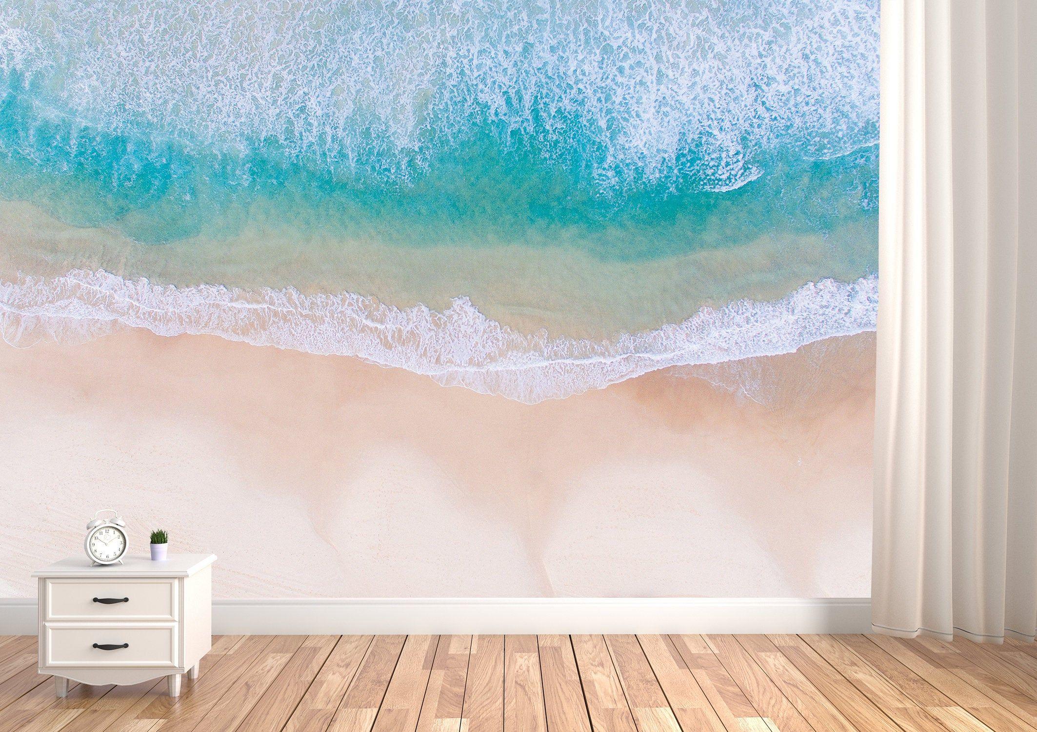 Removable Peel&Stick Vinyl Wallpaper Beach Waves Mural Sea