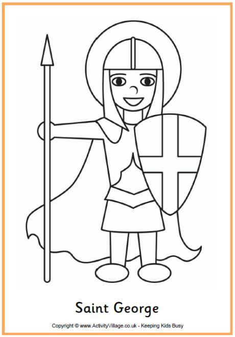 Saint George Colouring Page St Georges Day Saint George