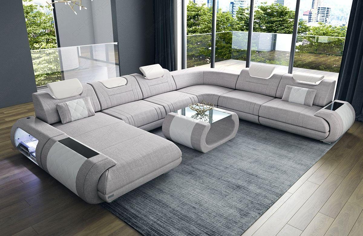 Stoff Wohnlandschaft Rimini Xxl Luxus Wohnzimmer Wohnlandschaft Sofa Design