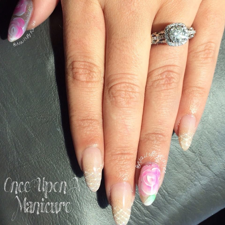 Inlaid 3d Encapsulated Acrylic Rose Nail Art A Collection Of My