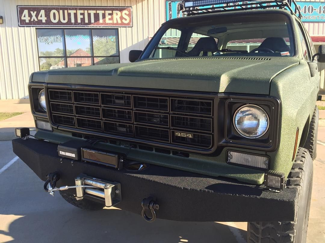 Lone Star 4x4 Customs On Instagram 1978 Blazer With Custom Bumpers Rigid Ir Led Lights And Hyperspots Custom Roof Rack Chevrolet Pickup Fuel Cell Bumpers