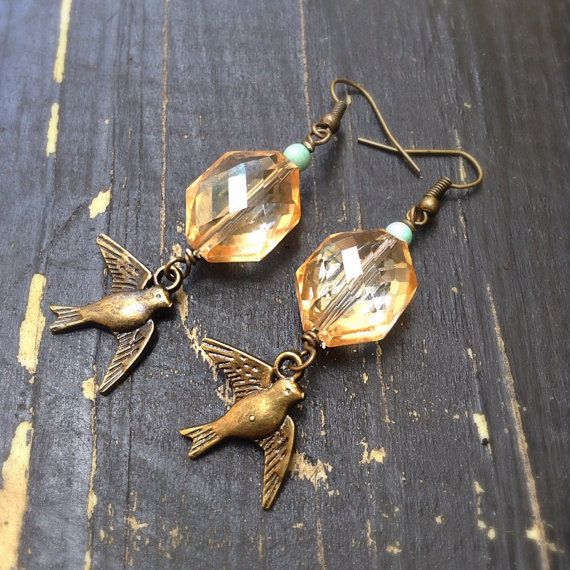 Sparrow and Amber Glass Earrings