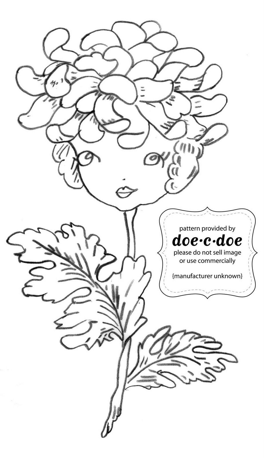 lady flower vintage embroidery pattern from doe c doe patterns i