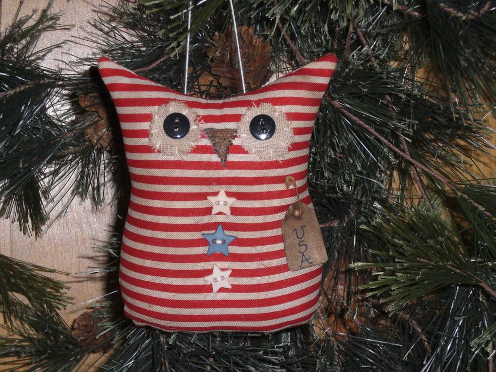 1 Primitive Patriotic Americana USA July 4 Owl Ornie Ornament  Bowl Filler  #Handmade