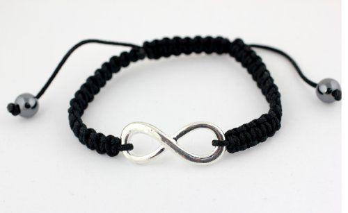 Black And White Shamballa Friendship Bracelet Encrusted Infinity