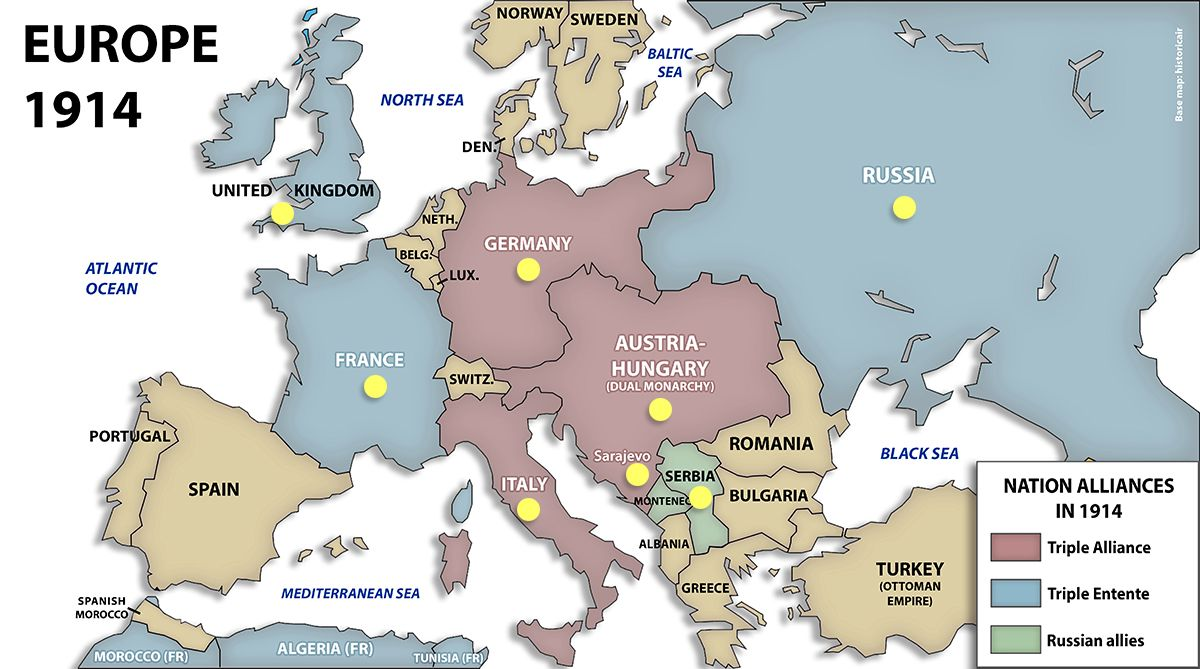 Map of Europe in 1914 before the war had started | World War ...