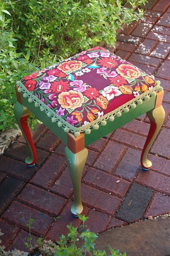 Bright Floral Embroidered And Painted Square Bench By
