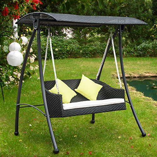 Outsunny Garden Rattan Swing Chair Outdoor Swinging Hammock Bench Bed Lounger Fire Retardant Swing Chair Outdoor Garden Swing Seat Commercial Outdoor Furniture