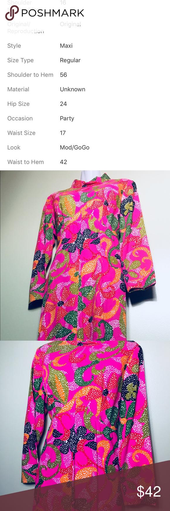 Vintage funky floral long sleeve maxi dress my posh picks pinterest
