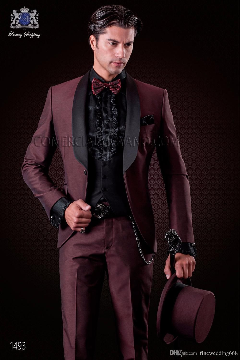 3d9e83aae7d Latest Design Custom Made Burgundy Wedding Suits Handsome Tuxedos Formal  Suits Business Wears Best Man Suits Jacket+Pants+Vests Menswear Tuxedos  From ...