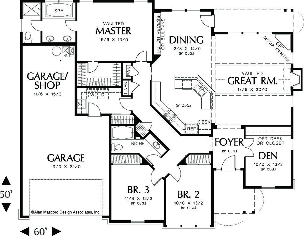 Craftsman Style House Plan 3 Beds 2 Baths 2001 Sq Ft Plan 48 104 Craftsman Style House Plans House Plans One Story Craftsman House Plans