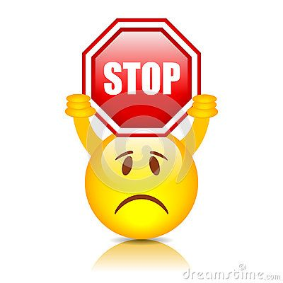 Smiley With Stop Sign Funny Emoji Smiley Social Media