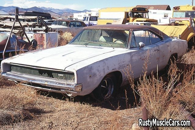 Junkyard Cars For Sale >> 1968 Dodge Charger In Salvage Yard Rustymusclecars Com