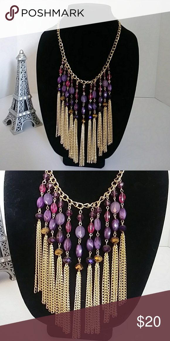 """Purple & Gold Tassel Statement Necklace Pretty piece, the drop is 6"""" from chain to bottom. Jewelry N..."""