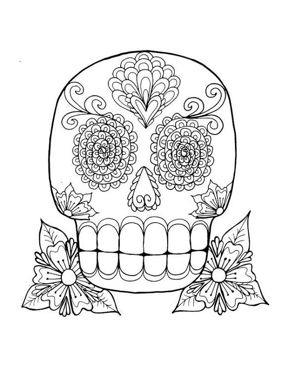 sugar skull adult or kids downloadable printable coloring pages